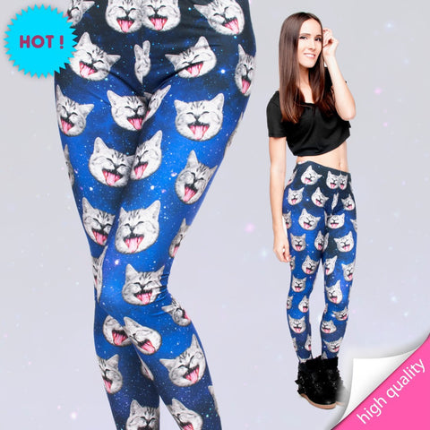 3D Cat Leggings - Milk Silk Strecth Leggings