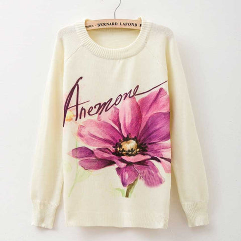 Printed Women Sweaters - Pullover O-Neck Long Sleeve