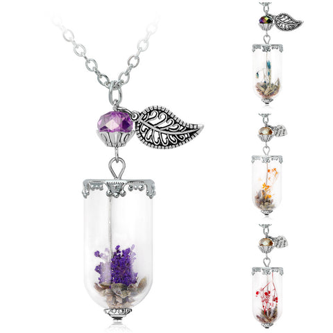 Angel Wing Necklace with Dry Flower