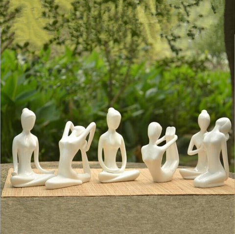Ceramic White / Black Yoga Figurines