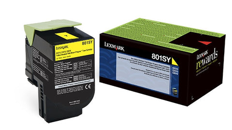 Lexmark (801SY) CX310 CX410 CX510 Yellow Return Program Toner Cartridge (2000 Yield)