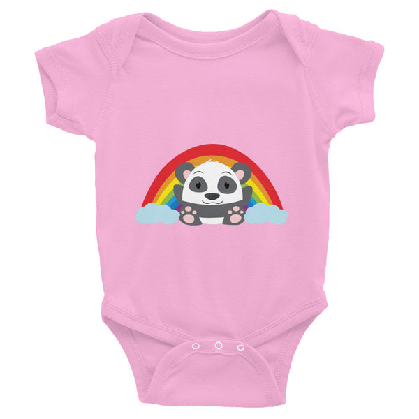 Rainbow Panda - Baby short sleeve one-piece