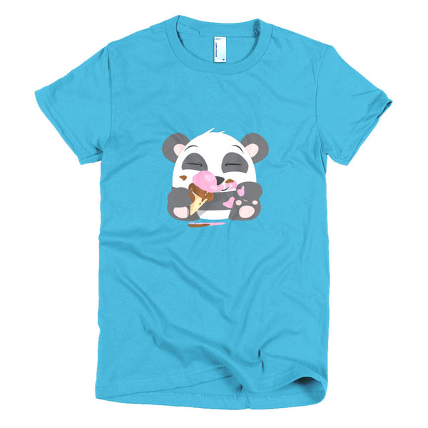 Ice Cream Panda - Short sleeve women's t-shirt