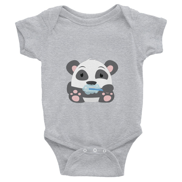 Clean Teeth Panda - Baby short sleeve one-piece
