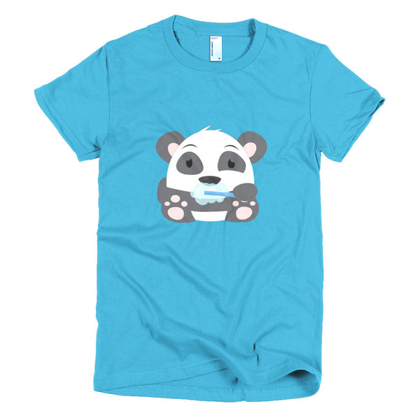 Clean Teeth Panda - Short sleeve women's t-shirt
