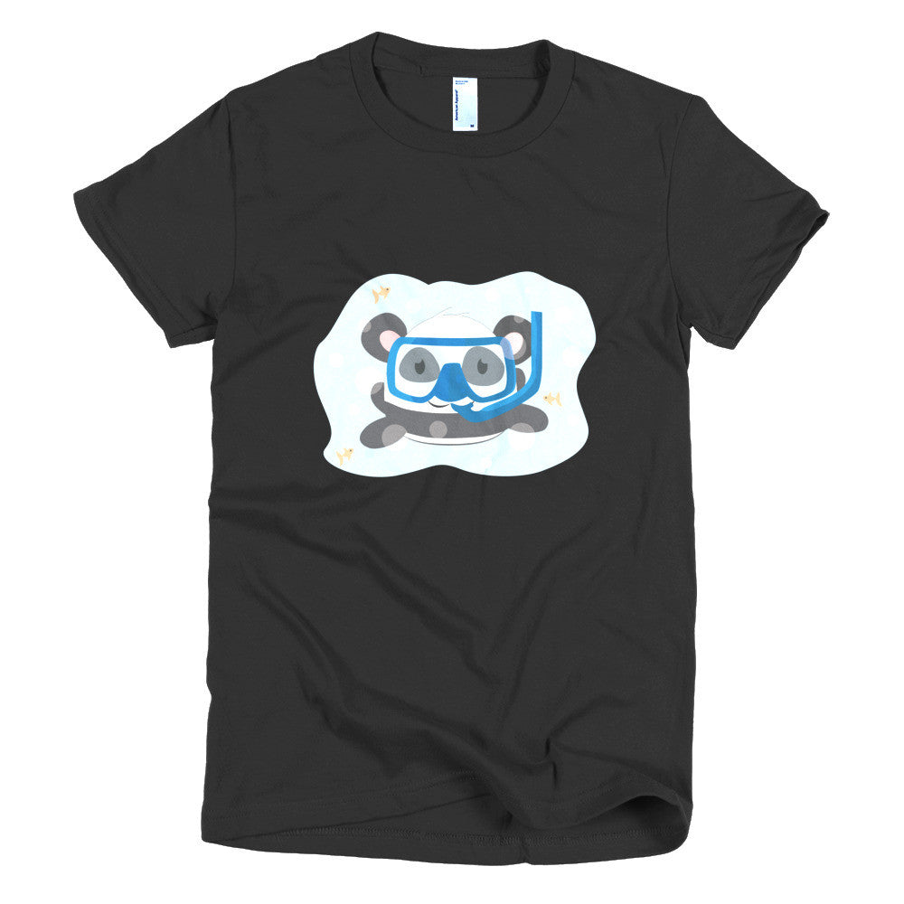 Snorkeling Panda - Short sleeve women's t-shirt