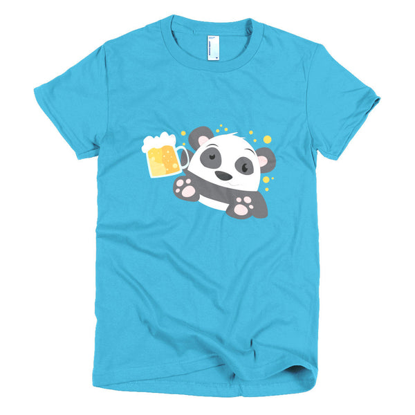 Beer Panda - Short sleeve women's t-shirt