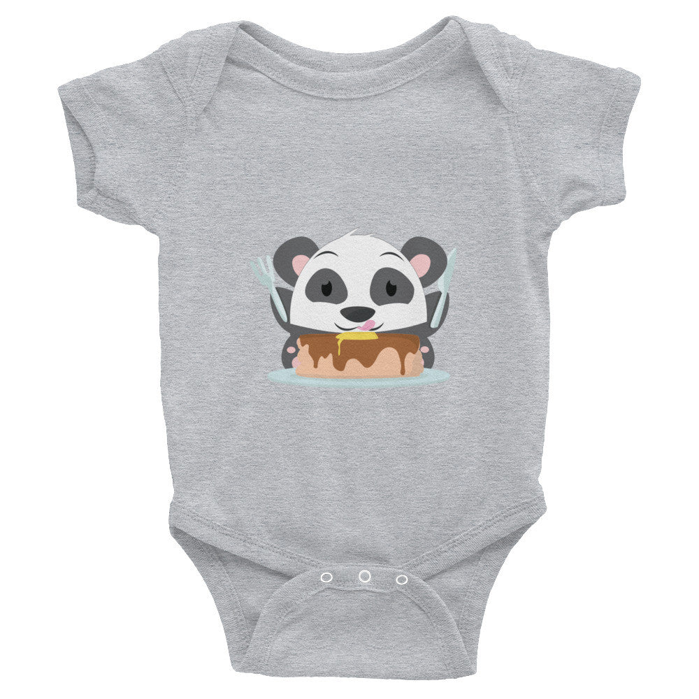 Pancakes Panda - Infant short sleeve one-piece
