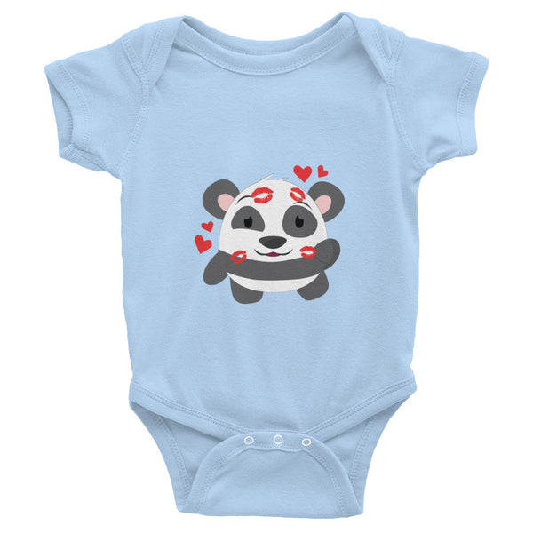 Kissing Panda - Baby short sleeve one-piece