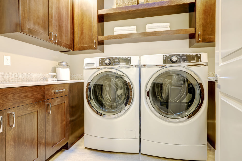 White and brown laundry room
