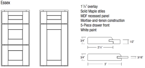 JSI designer essex white shaker door and drawer specifications and profile