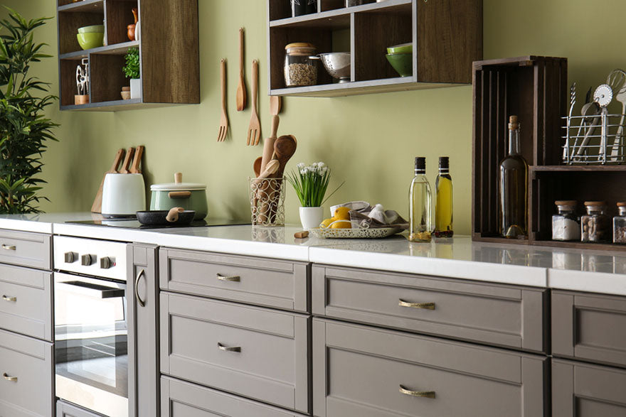 kitchen green accent wall