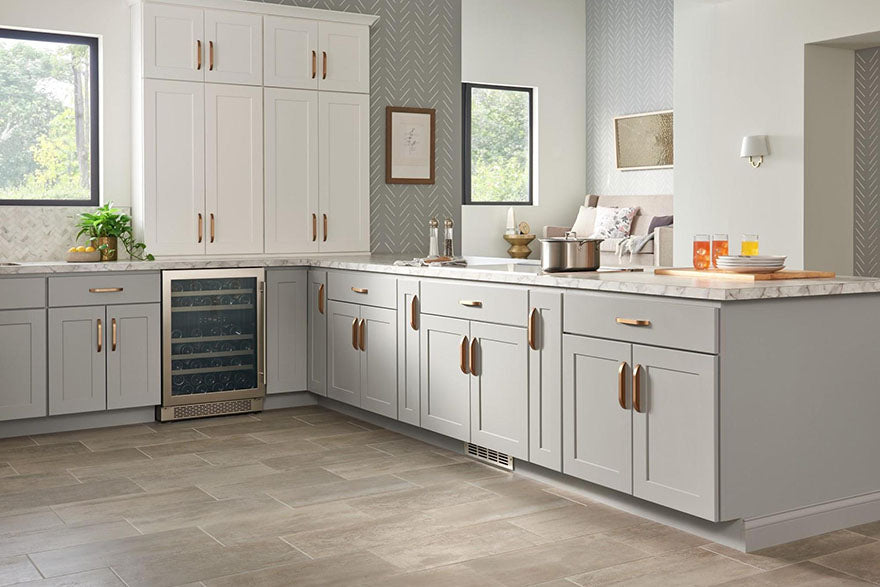kitchen with white and beige cabinets