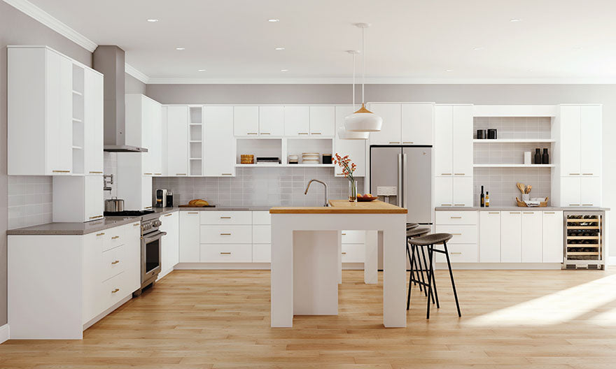 matte white kitchen cabinets
