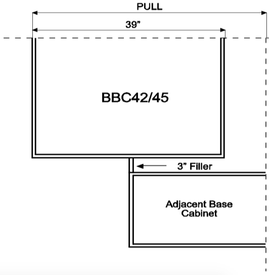 BBC42/45 - Amesbury Brown - Base Blind Corner Cabinet - Wholesale Cabinet Supply Kitchen and Bath Cabinetry from JSI Cabinetry Premier Series
