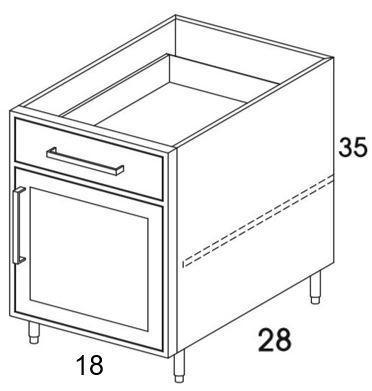 B18R - Flat White - Outdoor Base Cabinet - Single Door/Drawer-Base Cabinet-Wolf Endurance Outdoor Cabinets-Wholesale Cabinet Supply - thewcsupply.com