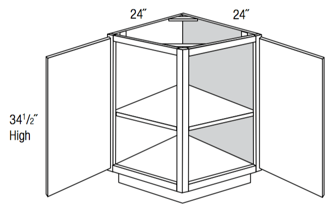 AB24 - Upton Brown - Angled Base End Cabinet