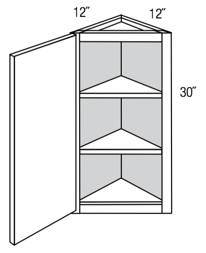 "AW30 - Upton Brown - 30"" High Angled Wall Cabinet - Single Door"