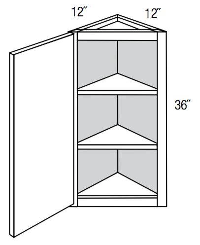 "AW36 - Upton Brown - 36"" High Angled Wall Cabinet - Single Door"
