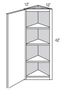 "AW42 - Norwich Recessed - 42"" High Angled Wall Cabinet - Single Door-Wall Cabinet-JSI Cabinetry Designer Series-Wholesale Cabinet Supply - thewcsupply.com"
