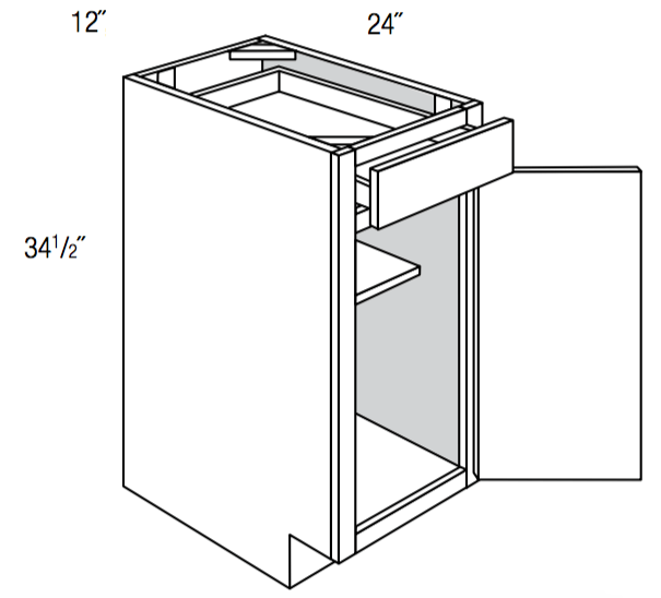 B12 - Upton Brown - Base Cabinet - Single Door/Drawer