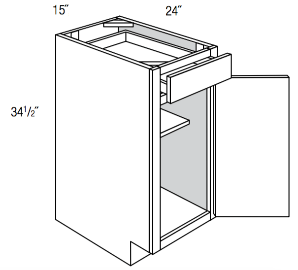 B15 - Upton Brown - Base Cabinet - Single Door/Drawer