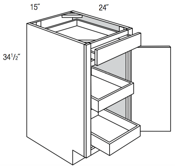 B15SCRT                  - Upton Brown - Base w/ 2 roll-outs - Single Door/Drawer