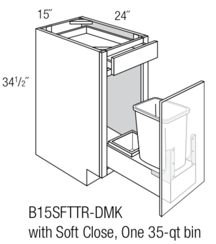 "B15SFTTR-DMK - Branford Recessed - 15""Base w/soft-close trash unit-Base Cabinet-JSI Cabinetry Designer Series-Wholesale Cabinet Supply - thewcsupply.com"