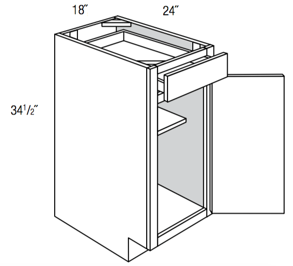 B18 - Upton Brown - Base Cabinet - Single Door/Drawer