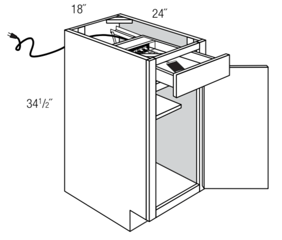 "B18CHGDR18   - Upton Brown - 18"" Base w/Charging Drawer"