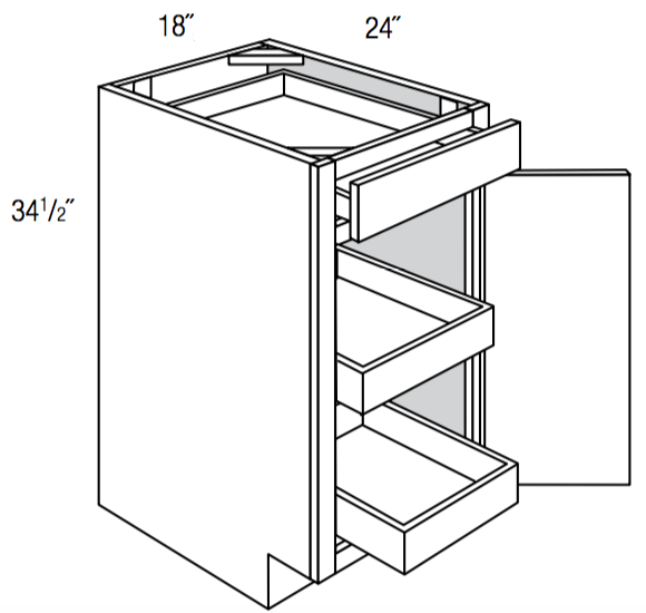 B18SCRT                - Upton Brown - Base w/ 2 roll-outs - Single Door/Drawer