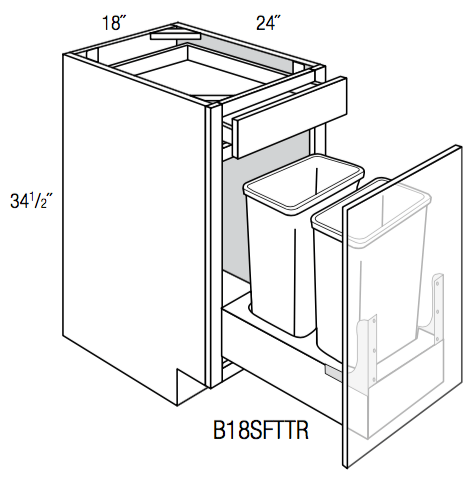 B18SFTTR - Upton Brown - Base Cabinet/ Soft-close Trash Pull - Single Door/Drawer