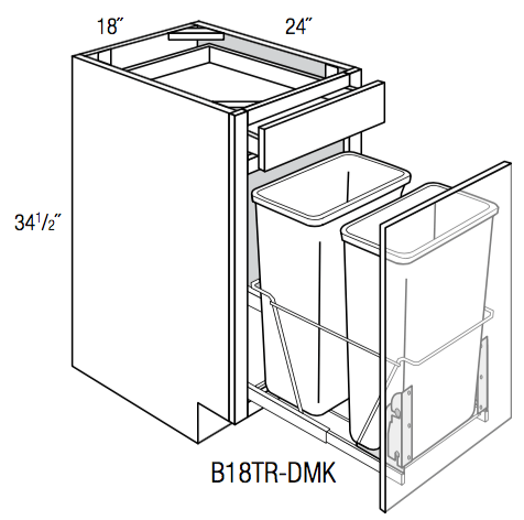 B18TR-DMK - Trenton Slab - Base w/Trash Pull & Door Mount