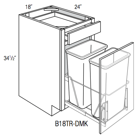 B18TR-DMK - Upton Brown - Base Cabinet w/Trash Pull - Single Door/Drawer