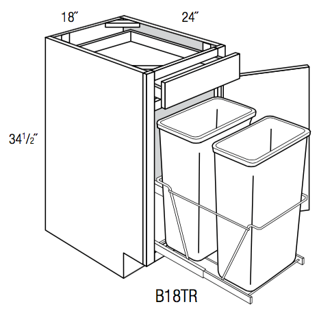 B18TR - Upton Brown - Base Cabinet/Trash Pull - Single Door/Drawer