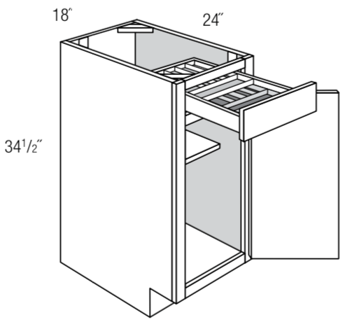 "B18TTCD18 - Upton Brown - 18"" Base w/2 tier cutlery drawer"