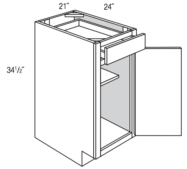 B21 - Upton Brown - Base Cabinet - Single Door/Drawer