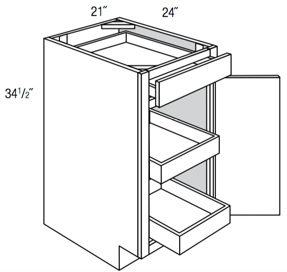 B21SCRT             - Upton Brown - Base w/ 2 roll-outs - Single Door/Drawer