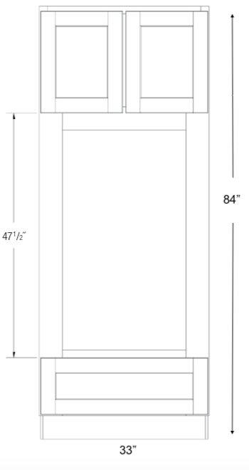 COC3384 - Upton Brown - Combination Oven Cabinet - Assembled - See Specs For Openings-Tall Cabinet-JSI Cabinetry Premier Series - Modified-Wholesale Cabinet Supply - thewcsupply.com