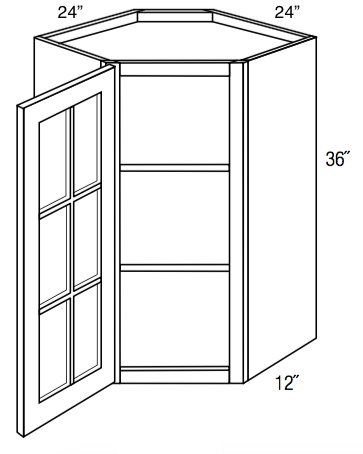 Gwdc2436 Essex White Corner Diagonal Wall Cabinet Single Glass D Wholesale Cabinet Supply