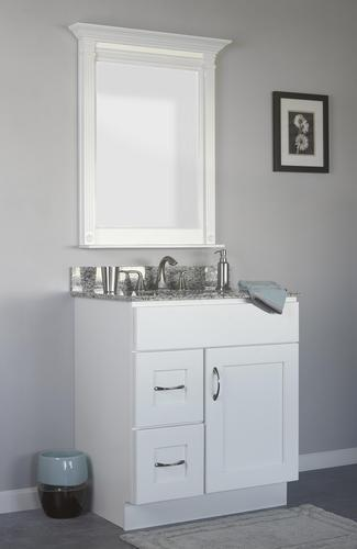 V3021D-L - Dover White - Vanity Base 1 Door, 2 Drawers - Drawers on Left-Vanity Cabinet-JSI Cabinetry Designer Series-Wholesale Cabinet Supply - thewcsupply.com