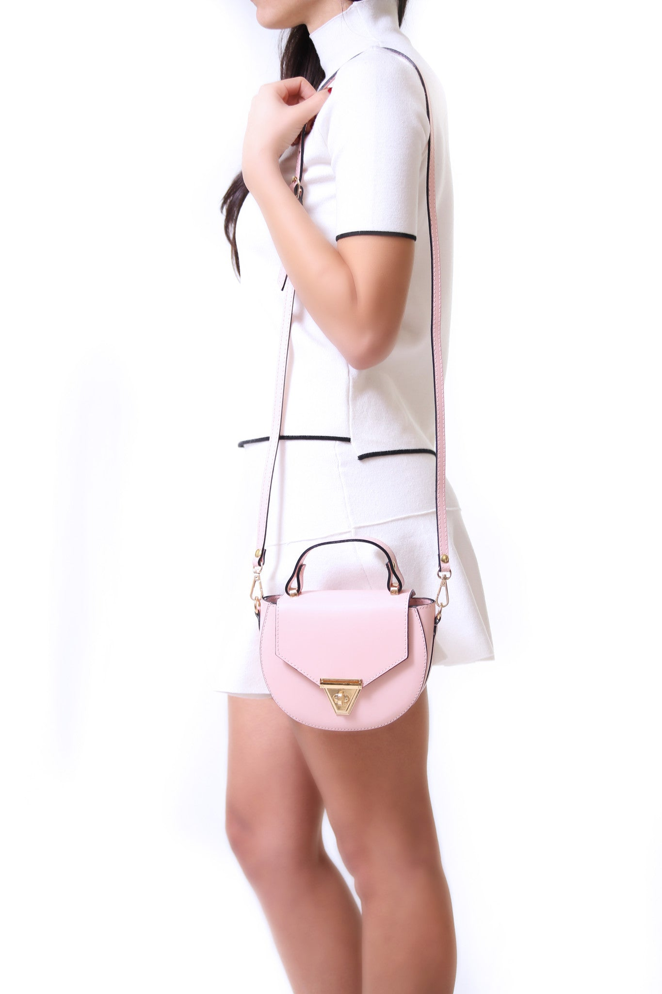 Mimi rose leather crossbody bag - ELEARIA