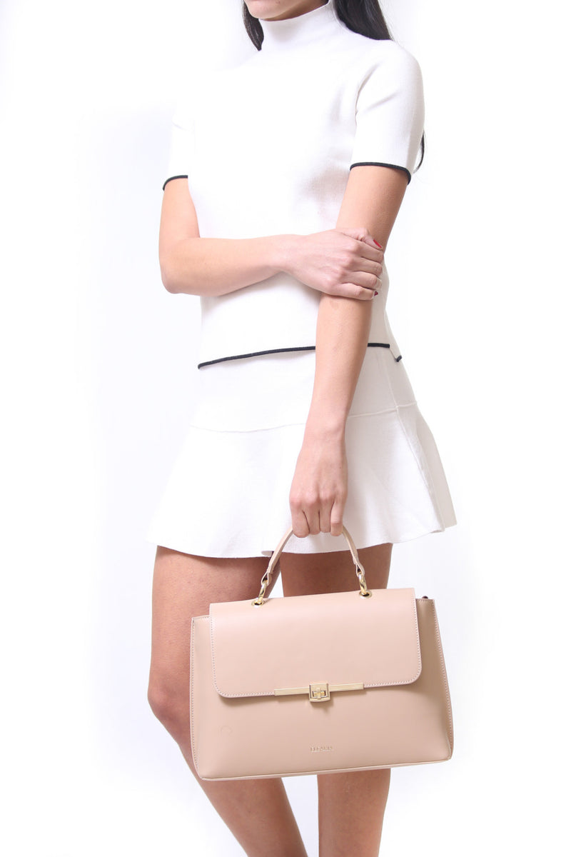 Kamelia nude leather tote bag - ELEARIA