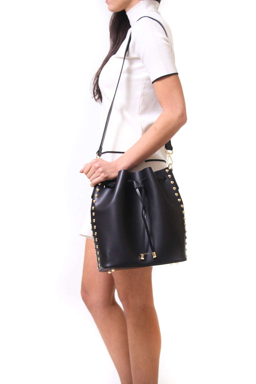 Emelia black stud leather bucket bag - ELEARIA