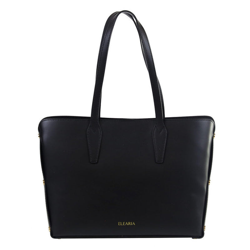 Gavriella black studded leather shopper bag - ELEARIA