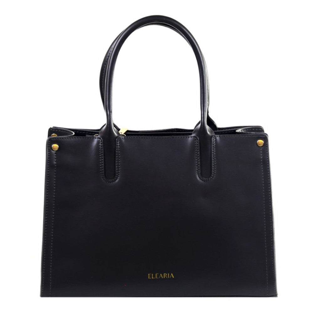 Jovanna black saffiano leather tote bag - ELEARIA
