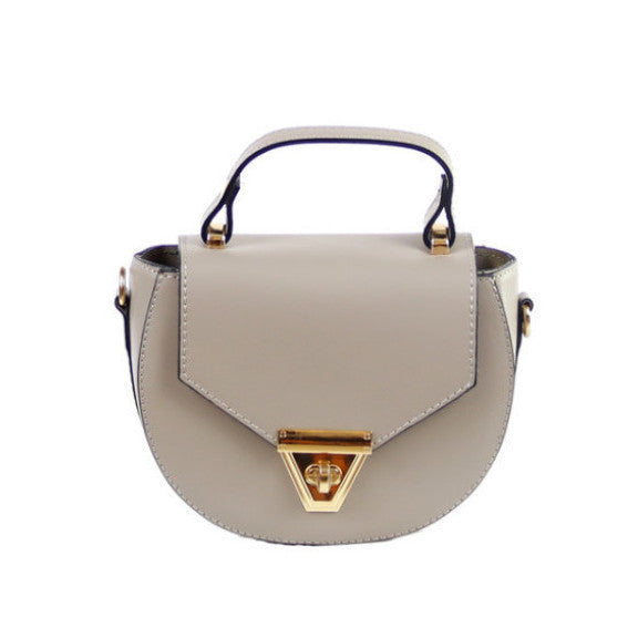 Mimi taupe leather crossbody bag - ELEARIA
