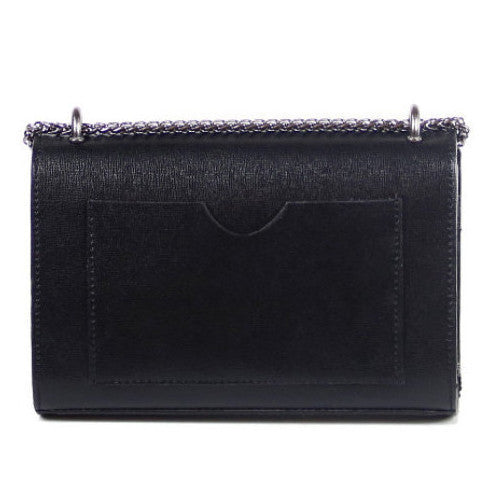 Valentina black saffiano leather chain crossbody bag - ELEARIA