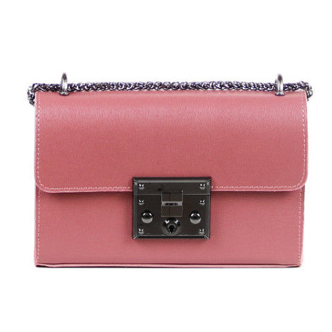 Valentina rose saffiano leather chain crossbody bag - ELEARIA