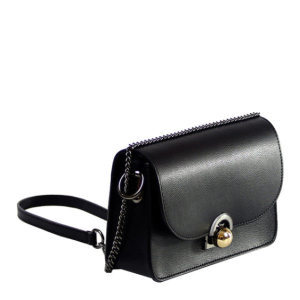 Isabella black leather chain crossbody bag - ELEARIA
